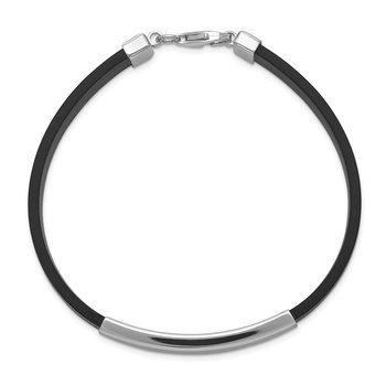 Sterling Silver Rhodium-plated ID Black Rubber Bracelet