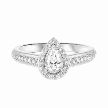 Pear Diamond Engagement Promise Halo Ring in 14k White Gold (1/2ctw)