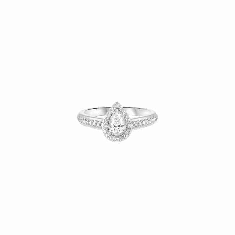 Gems One Pear Diamond Engagement Promise Halo Ring in 14k White Gold (1/2ctw)