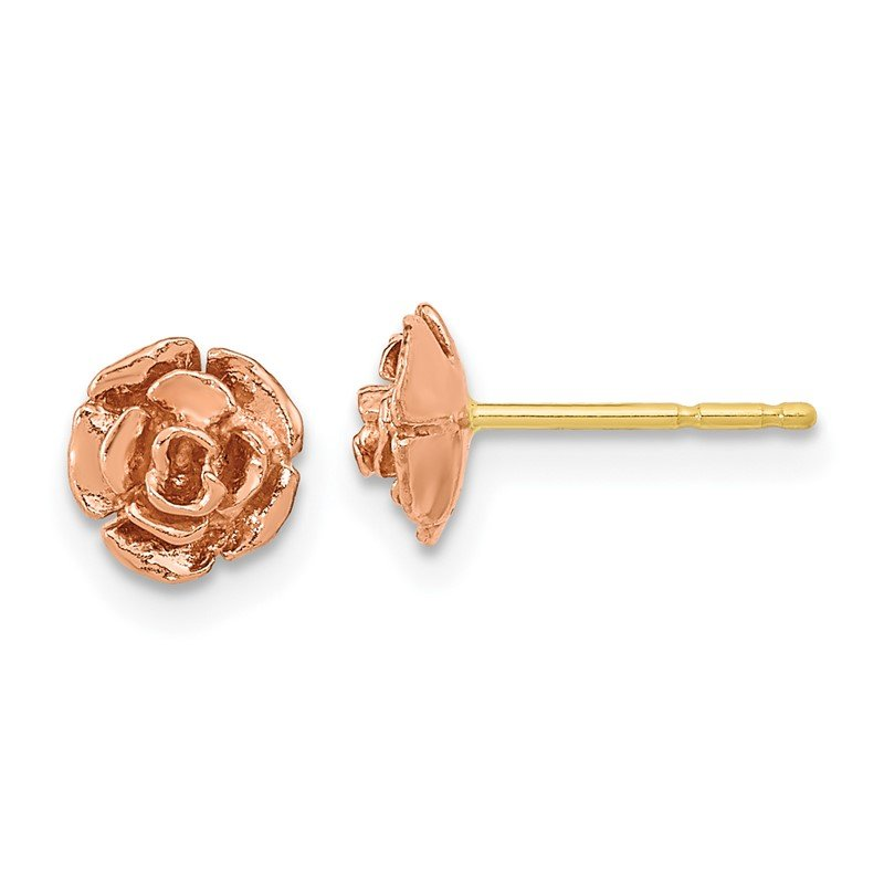 Quality Gold 10k Tri-Color Black Hills Gold Rose Post Earrings