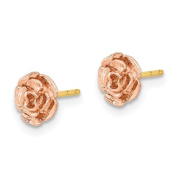 10k Tri-Color Black Hills Gold Rose Post Earrings