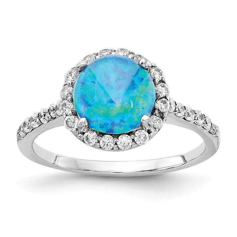 Cheryl M Cheryl M Sterling Silver Rhodium Plated Created Blue Opal & CZ Ring