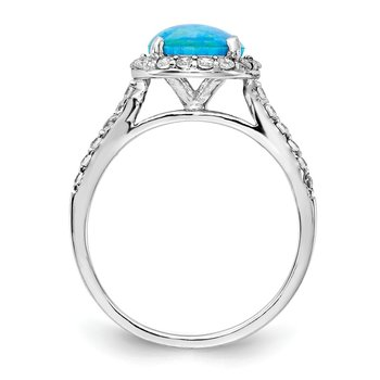 Cheryl M Sterling Silver Rhodium Plated Created Blue Opal & CZ Ring
