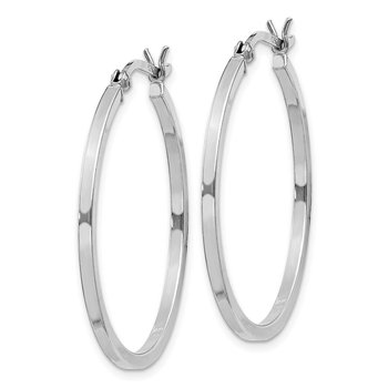 Sterling Silver Rhodium-plated 1.5x30mm Hoop Earrings