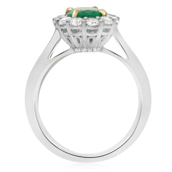 Large Prong Set Emerald Halo Ring