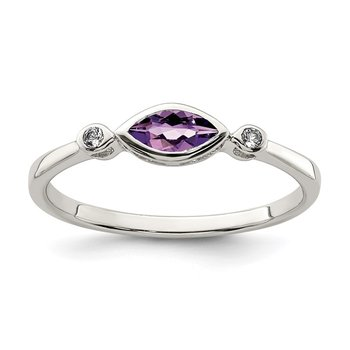 Sterling Silver Polished Amethyst and White Topaz Ring
