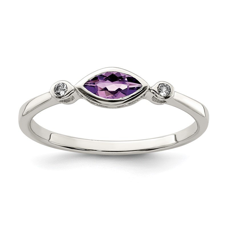 Quality Gold Sterling Silver Polished Amethyst and White Topaz Ring