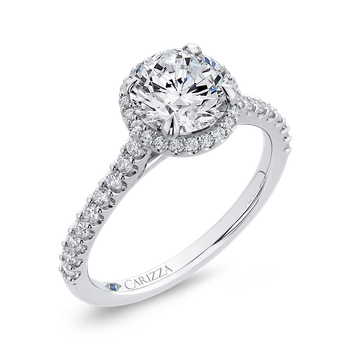 18K White Gold Round Cut Diamond Classic Halo Engagement Ring (Semi-Mount)