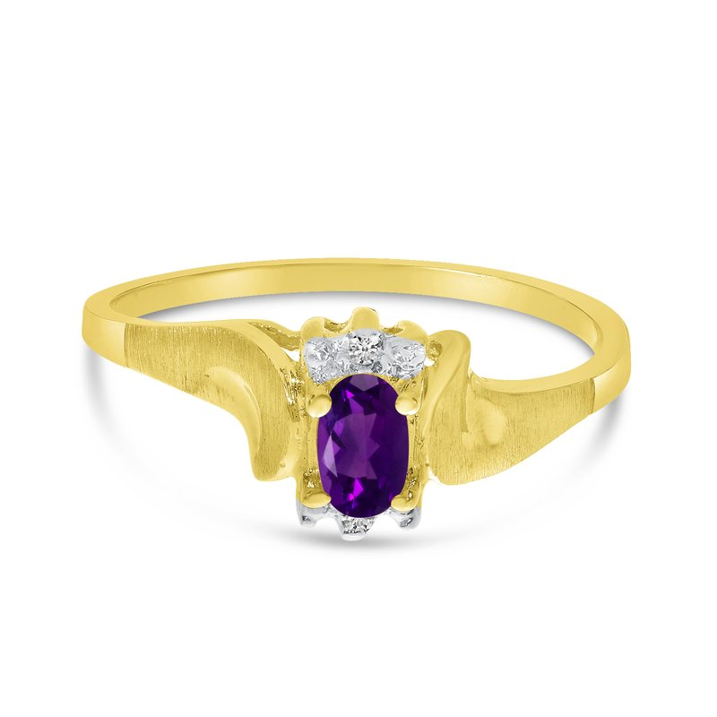 Color Merchants 14k Yellow Gold Oval Amethyst And Diamond Satin Finish Ring