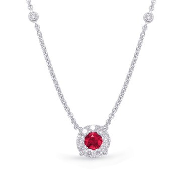 White Gold Ruby & Diamond Necklance