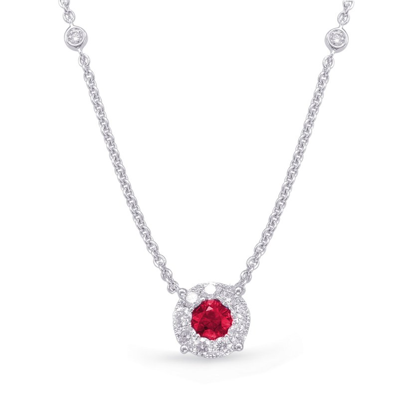 S. Kashi  & Sons White Gold Ruby & Diamond Necklance