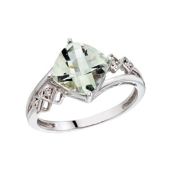 14K White Gold Cushion Green Amethyst and Diamond Ring