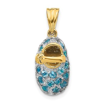 14k & Rhodium Prong-Set December/Blue Topaz Baby Shoe Charm