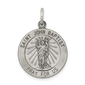 Sterling Silver Antiqued Saint John the Baptist Medal