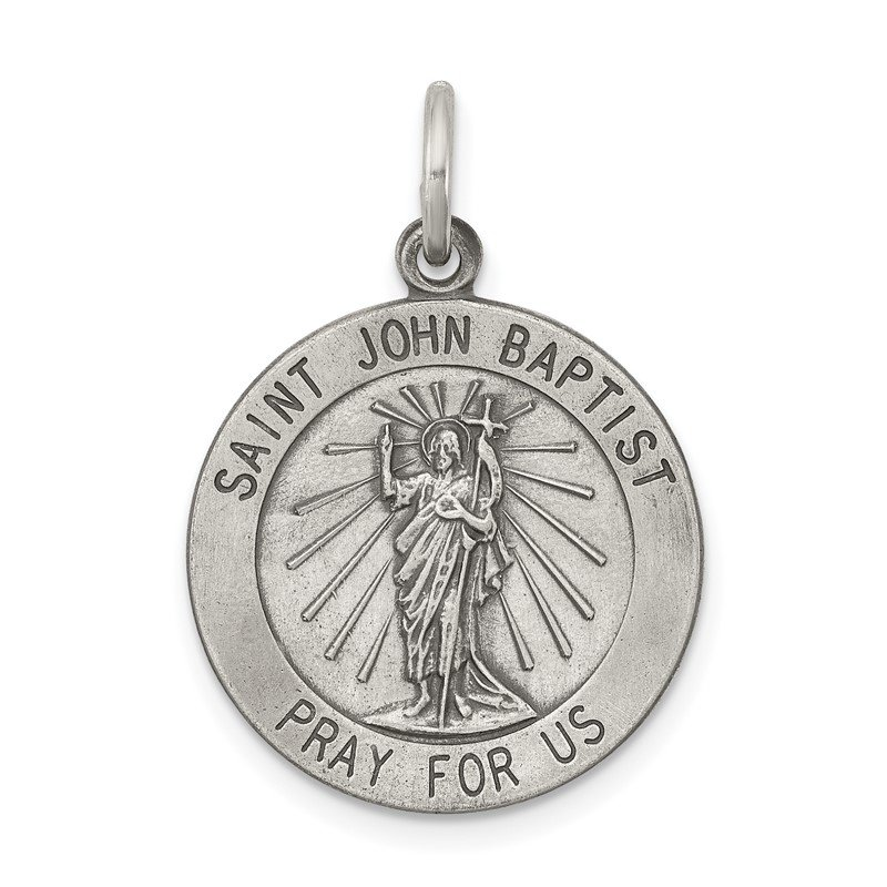 Quality Gold Sterling Silver Antiqued Saint John the Baptist Medal