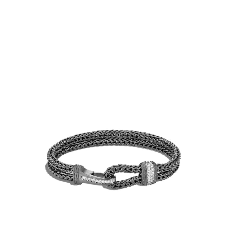 JOHN HARDY Classic Chain Hook Clasp Bracelet in Blackened Silver, Diamonds