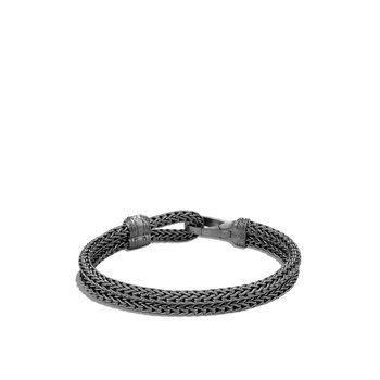 Classic Chain Hook Clasp Bracelet in Blackened Silver, Diamonds
