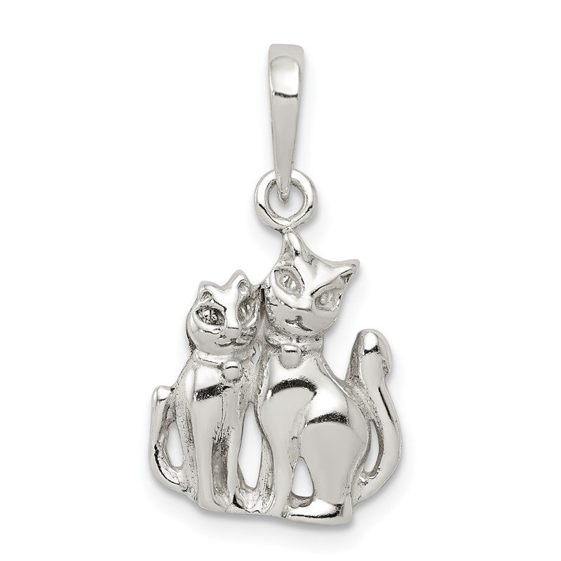 Quality Gold Sterling Silver Cats Pendant