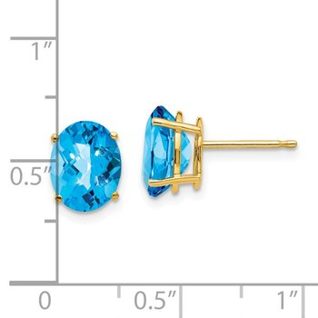14k 9x7mm Oval Blue Topaz Checker Earrings