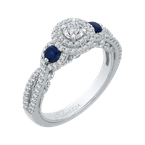 Promezza 14K White Gold Round Cut Diamond And Sapphire Three-Stone Halo Engagement Ring