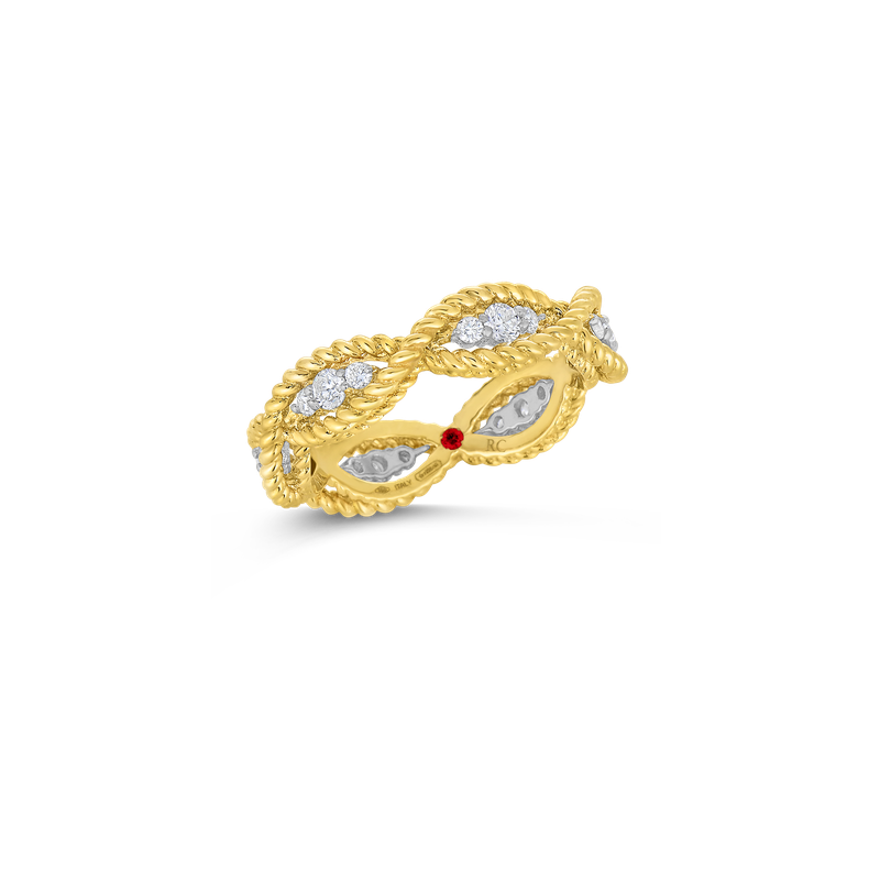 Roberto Coin 1 Row Ring With Diamonds &Ndash; 18K Yellow Gold, 7