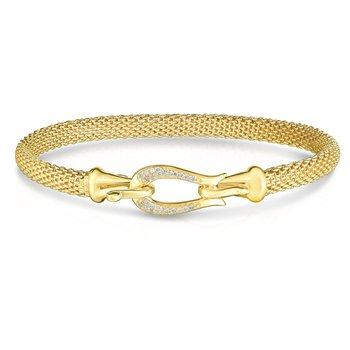 14K Gold Diamond Buckle Bangle