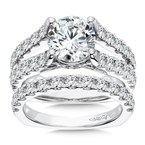Caro74 Grand Opulance Collection Diamond Split Shank Engagement Ring in 14K White Gold with Platinum Head (2ct. tw.)