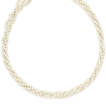 Sterling S Majestik Rh-pl 4Row 4-5mm Imitat Shell Pearl Twisted Necklace
