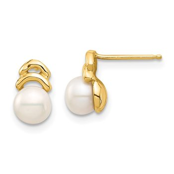 14k Madi K 5-6mm White Button FW Cultured Pearl Post Dangle Earrings