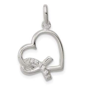 Sterling Silver Polished Heart w/ Awareness Ribbon CZ Charm