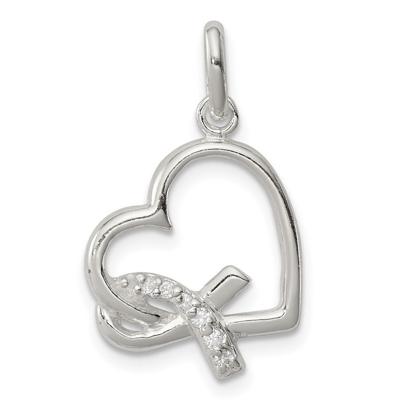 Quality Gold Sterling Silver Polished Heart w/ Awareness Ribbon CZ Charm