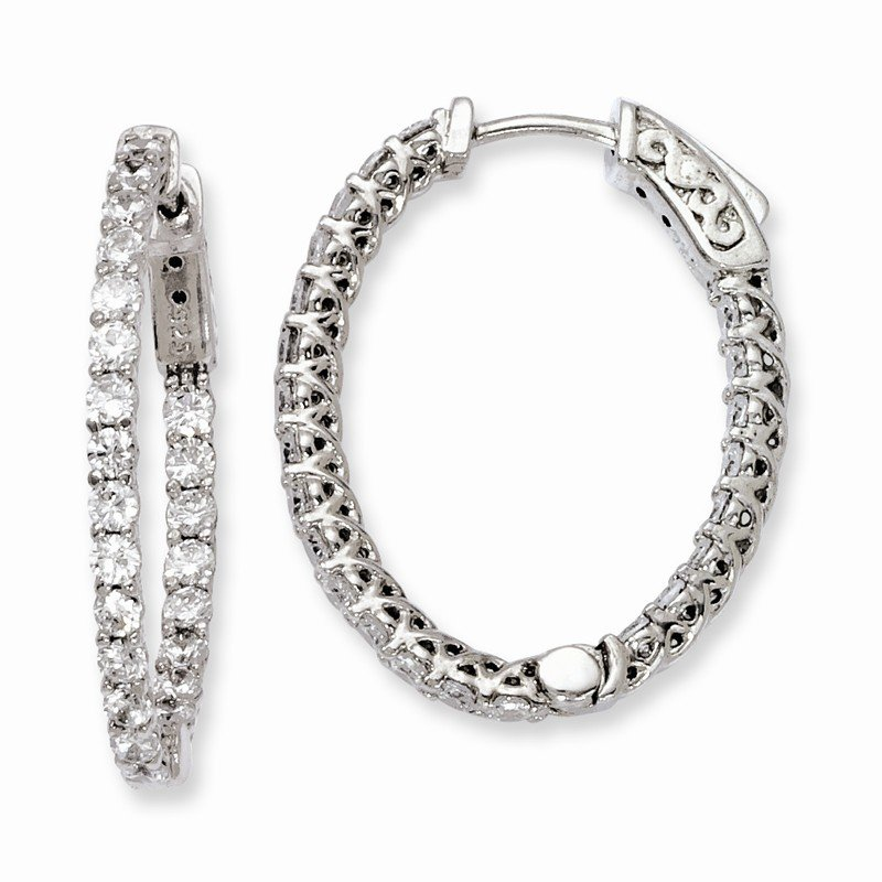 Quality Gold Sterling Silver Rhodium-plated CZ Hinged Oval Hoop Earrings