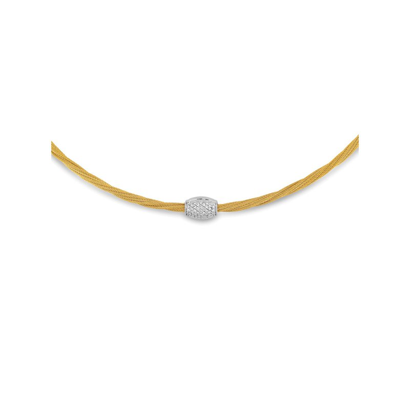 ALOR Yellow Cable Barrel Station Necklace with 18kt White Gold & Diamonds
