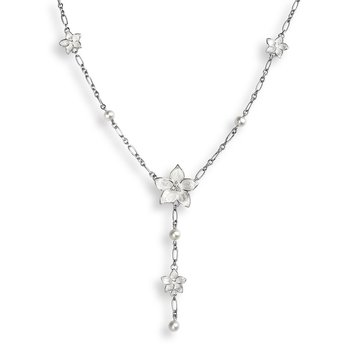 White Stephanotis Necklace.Sterling Silver-Freshwater Pearl and White Sapphire