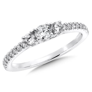 Round Diamond 3-Stone 14k White Gold Engagment Ring With Pave set Shank (1/2 ct. tw.).
