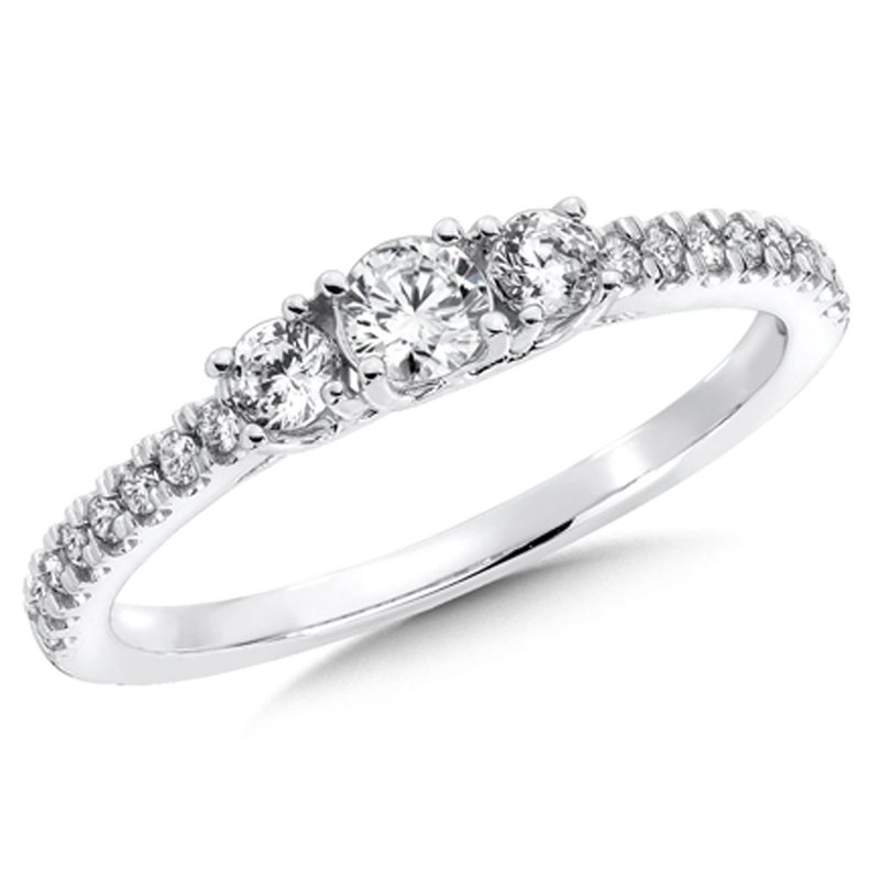 SDC Creations Round Diamond 3-Stone 14k White Gold Engagment Ring With Pave set Shank (1/2 ct. tw.).