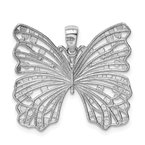 Sterling Silver Rhodium-plated Brushed & Polished & D/C Butterfly Pendant