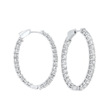 In-Out Diamond Hoop Earrings in 14K White Gold (5 ct. tw.) I2/I3 - H/K