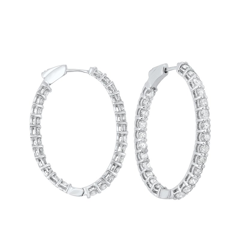 Gems One In-Out Diamond Hoop Earrings in 14K White Gold (5 ct. tw.) I2/I3 - H/K
