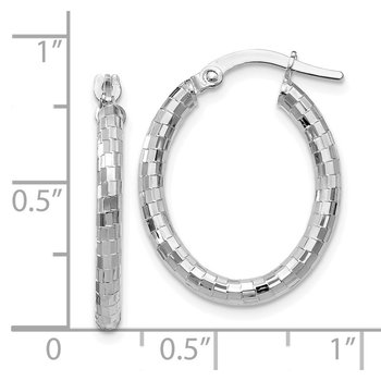 Leslie's 14K White Gold Textured Oval Hoop Earrings
