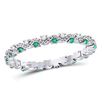 10kt White Gold Womens Round Emerald Diamond Eternity Stackable Band Ring 1/4 Cttw
