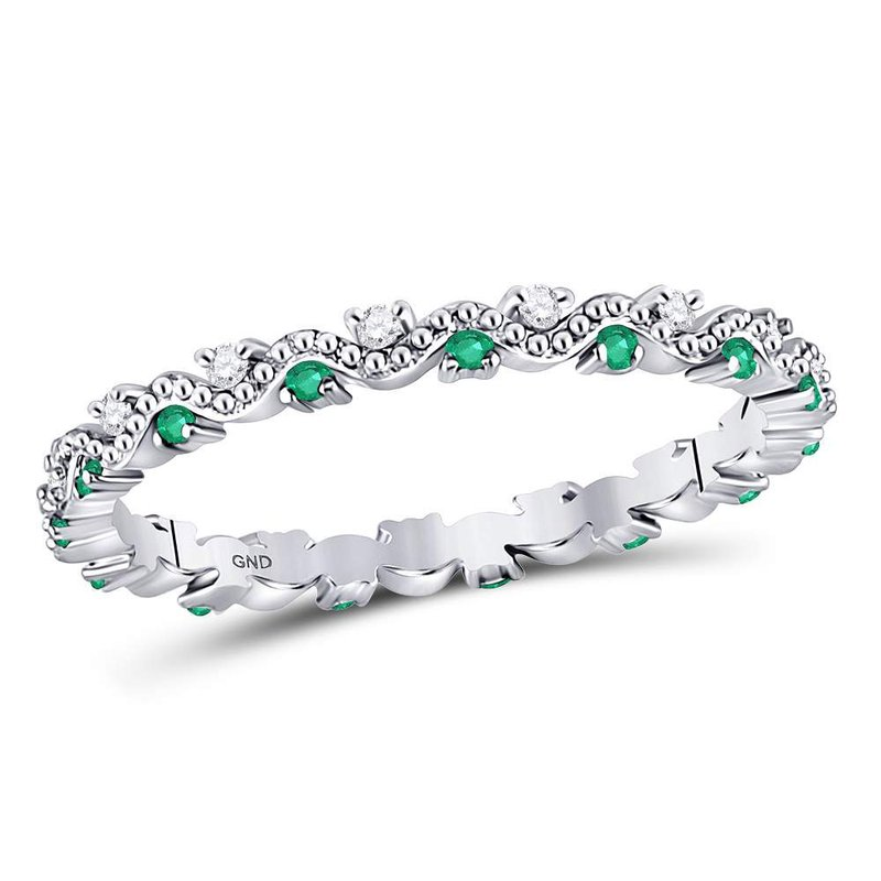 Gold-N-Diamonds, Inc. (Atlanta) 10kt White Gold Womens Round Emerald Diamond Eternity Stackable Band Ring 1/4 Cttw