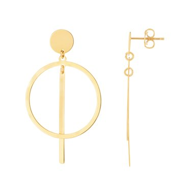 14K Gold Geometric Drop Earrings