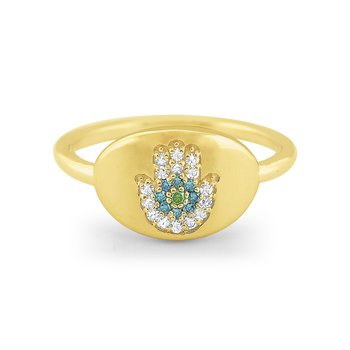 14k Gold and Multi Color Diamond Signet Ring