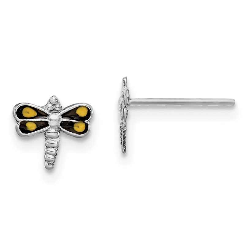 Quality Gold Sterling Silver Rhodium-plated Dragonfly Post Earrings