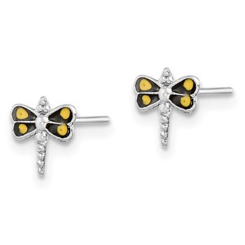 Sterling Silver Rhodium-plated Dragonfly Post Earrings