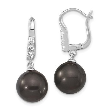 Sterling S Majestik Rh-pl 10-11mm Blk Imitat Shell Pearl CZ Dangle Earrings