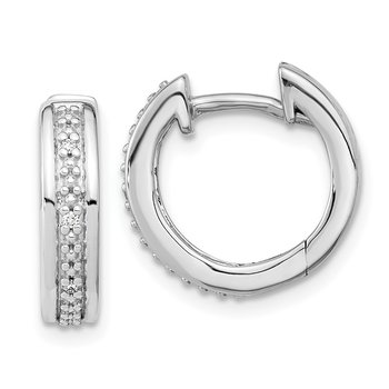 14k White Gold Diamond Complete Hinged Hoop Earrings