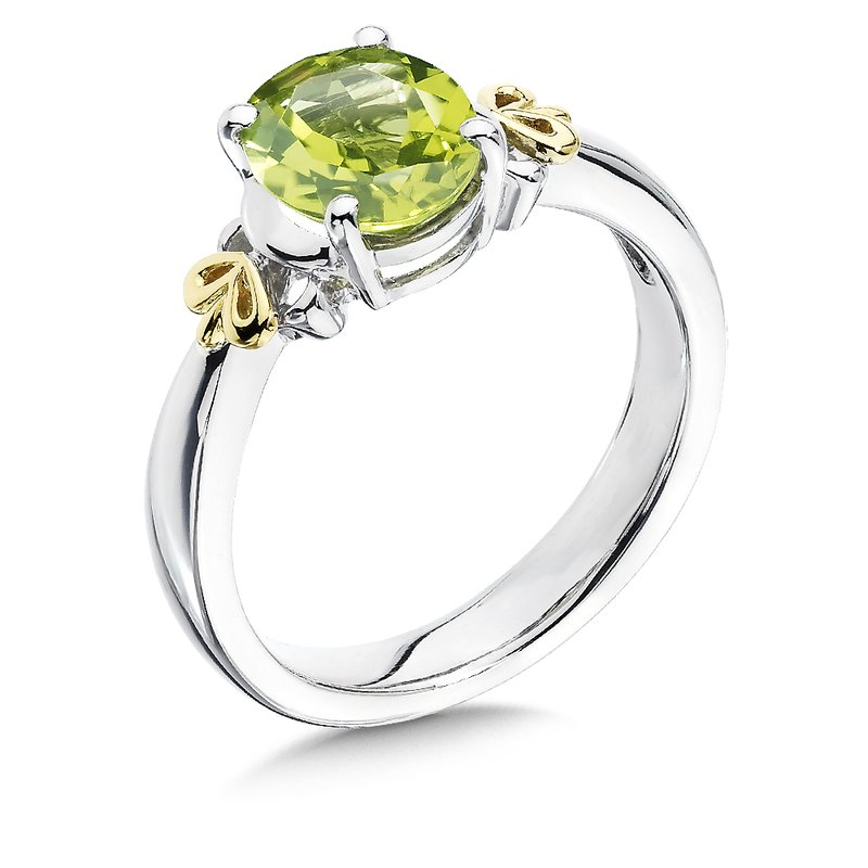 Sterling Silver, 18K Gold and Peridot Ring