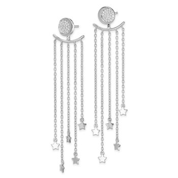 Sterling Silver Rhodium-plated CZ Moon Posts & Star Dangle Jacket Earrings